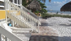 Stairs of beachside rooms leading to the beach